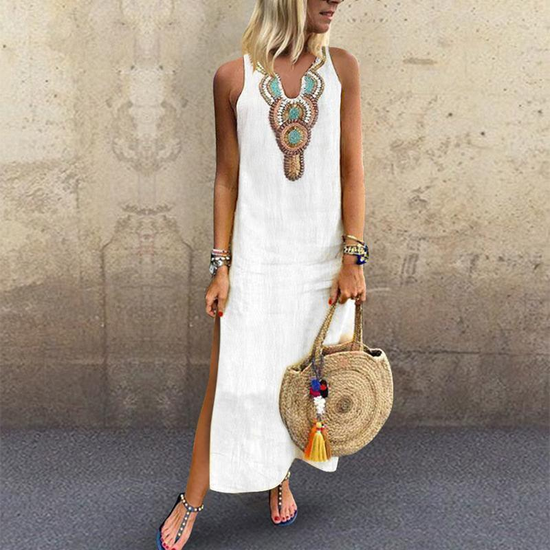 Lulunina Sexy Side Split V Neck Printed Sleeveless Casual Dress-WHITE-S-LuluNina.com