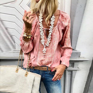 Lulunina Lace Up Fashion V-Neck Long Sleeve Blouses-PINK-S-LuluNina.com