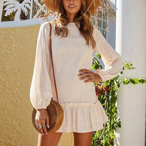 Lulunina Casual Loose Show Thin Pure Color Pleated Mini Dress-BEIGE-S-LuluNina.com