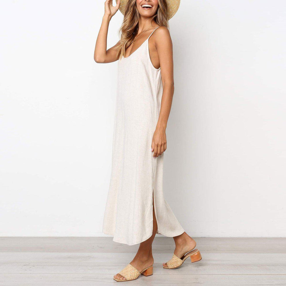 Lulunina Casual Plain Loose Vacation Dress-BEIGE-S-LuluNina.com