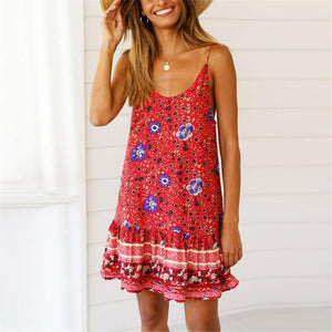Bohemia Style Printed Loose Vacation Dress-RED-S-LuluNina.com
