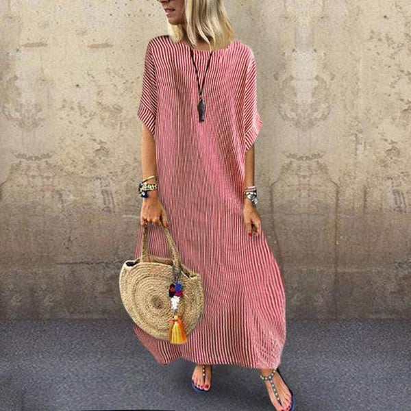 Lulunina Fashionable Round Collar Loose Stripe Short Sleeve Maxi Dress-RED-S-LuluNina.com