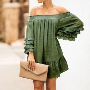 Lulunina Sweet Off Shoulder Plain Flounce Decorated Loose Vacation Dress-GREEN-S-LuluNina.com
