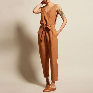 Lulunina V-Neck High Waist Belt Casual Jumpsuit
