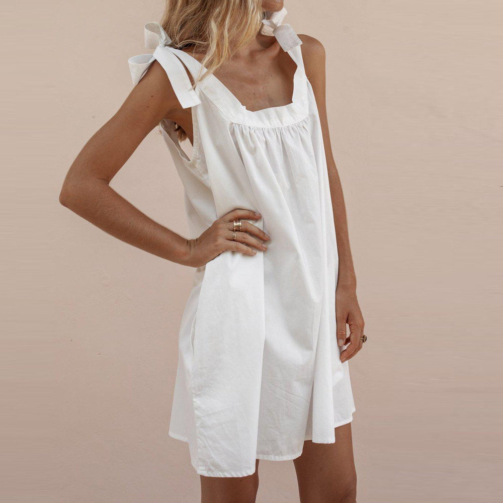 Cotton Loose Sling Bow Solid Color Lace Casual Mini Dress-WHITE-S-LuluNina.com
