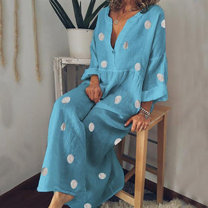 Lulunina V Neck Long Sleeve Pleated Polka Maxi Dress-BLUE-S-LuluNina.com