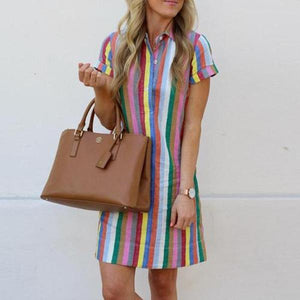 Lulunina Rainbow Striped Shirtdress-MULTICOLOR STRIPE-S-LuluNina.com