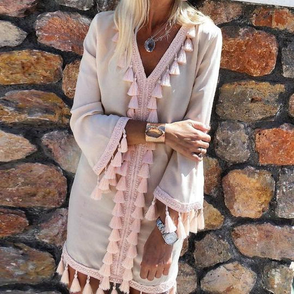 Lulunina Feel The Sunshine Fringe Mini Dress-PINK-S-LuluNina.com