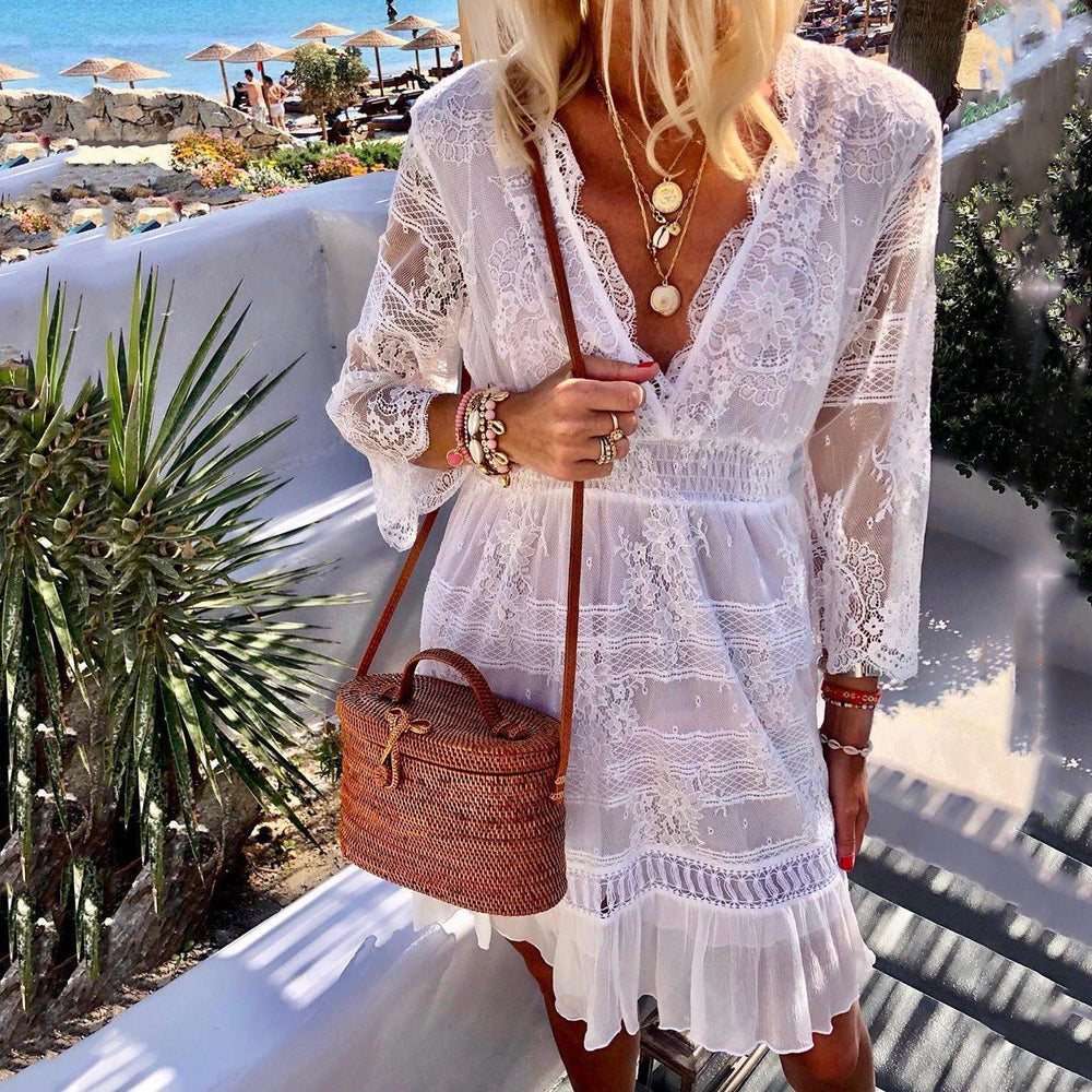 Casual Lace V Neck Long Sleeve Mini Dress-WHITE-S-LuluNina.com