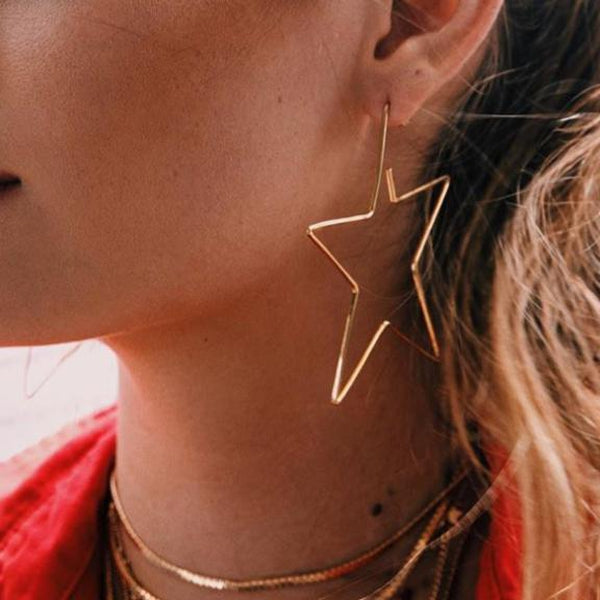Fashion Hollow Out Star Earring-GOLD-ONE SIZE-LuluNina.com
