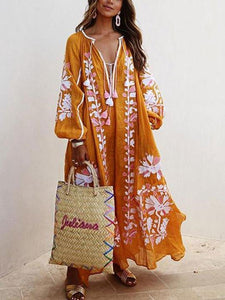Lulunina Balloon Sleeves Boho Printed Maxi Dress-ORANGE-S-LuluNina.com
