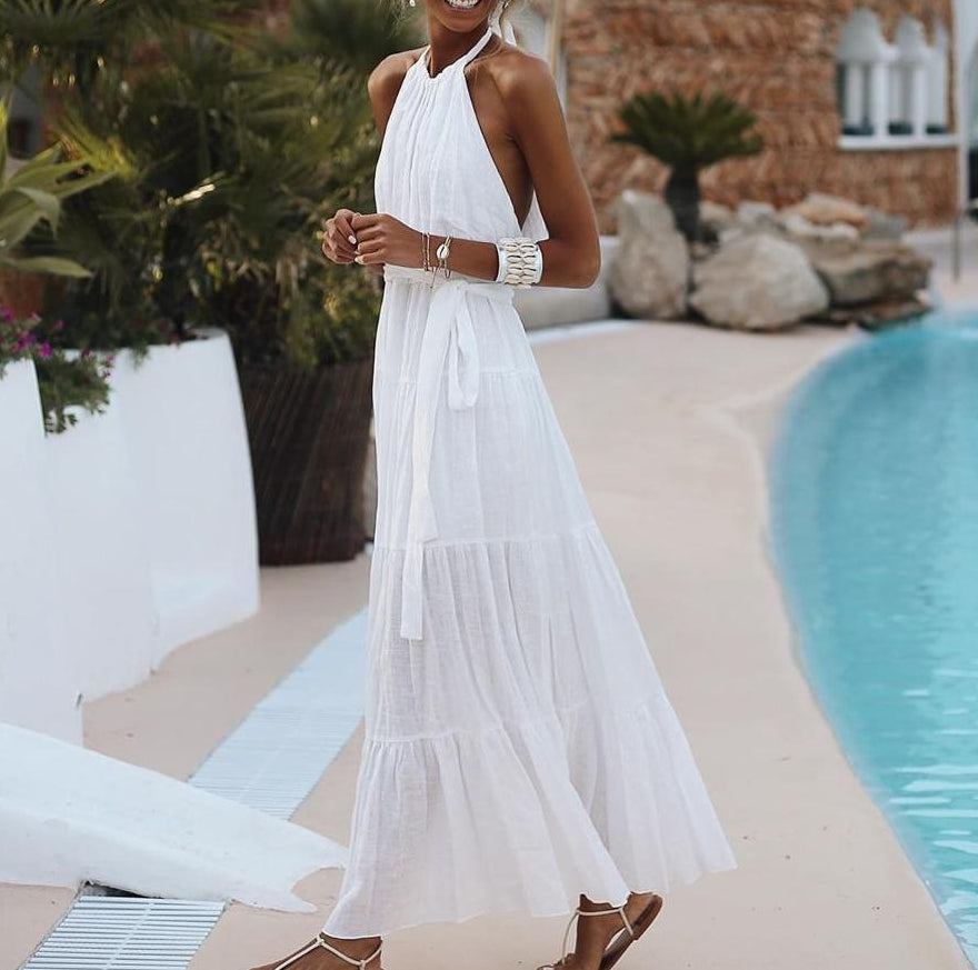 Lulunina White Halter Tiered Maxi Dress