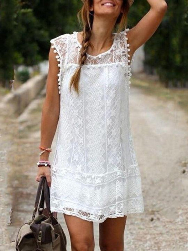 Lulunina Sleeveless Boho A-Line Dress-WHITE-S-LuluNina.com