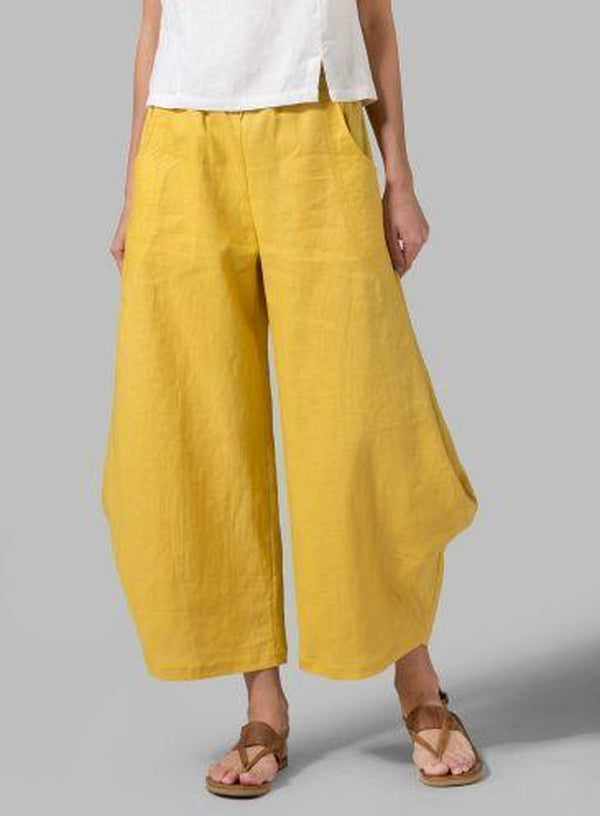 Lulunina Plus Size Solid Linen Women Pants-YELLOW-S-LuluNina.com