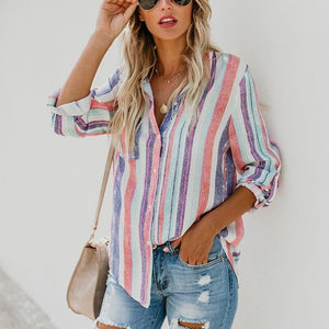 Lulunina Multicolor Stripes Fashion Blouses&Shirts Tops-MULTICOLOR-S-LuluNina.com