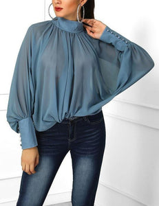 Lulunina Solid Pleated Stand Collar Bat Sleeve Loose Chiffon Blouse-SKY BLUE-S-LuluNina.com