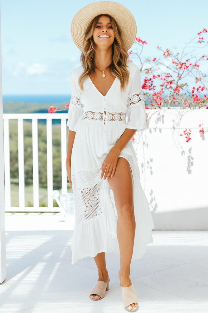 Lulunina V-Neck Lace Stitching White Maxi Vacation Dress-S-WHITE-LuluNina.com