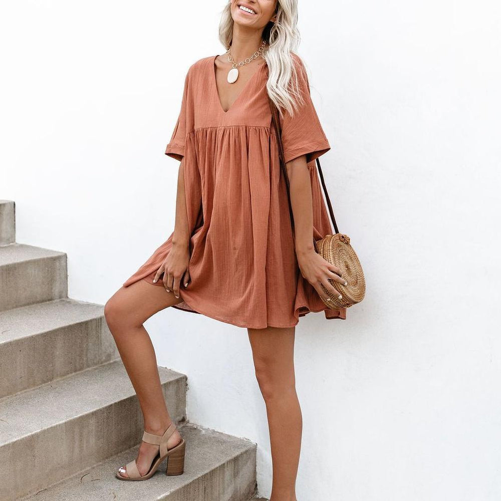 Lulunina Short Sleeves V-Neck Loose Mini Dress-S-ORANGE-LuluNina.com