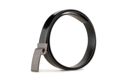 LOGO LEATHER BELT A1-256 BLACK