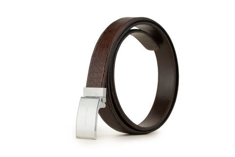 LOGO LEATHER BELT A1-092 BROWN