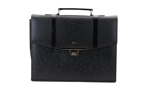 LOGO LEATHER OFFICE BAGS LOB016 BLACK