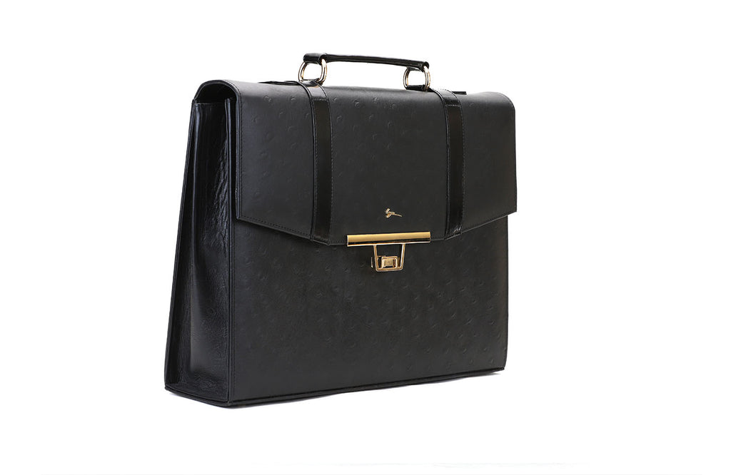 LOGO LEATHER OFFICE BAGS LOB016 BLACK - LOGO | OPIA