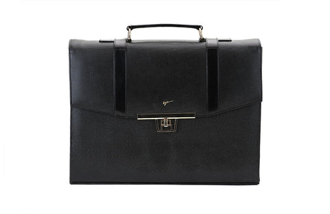 LOGO LEATHER OFFICE BAGS LOB017 BLACK