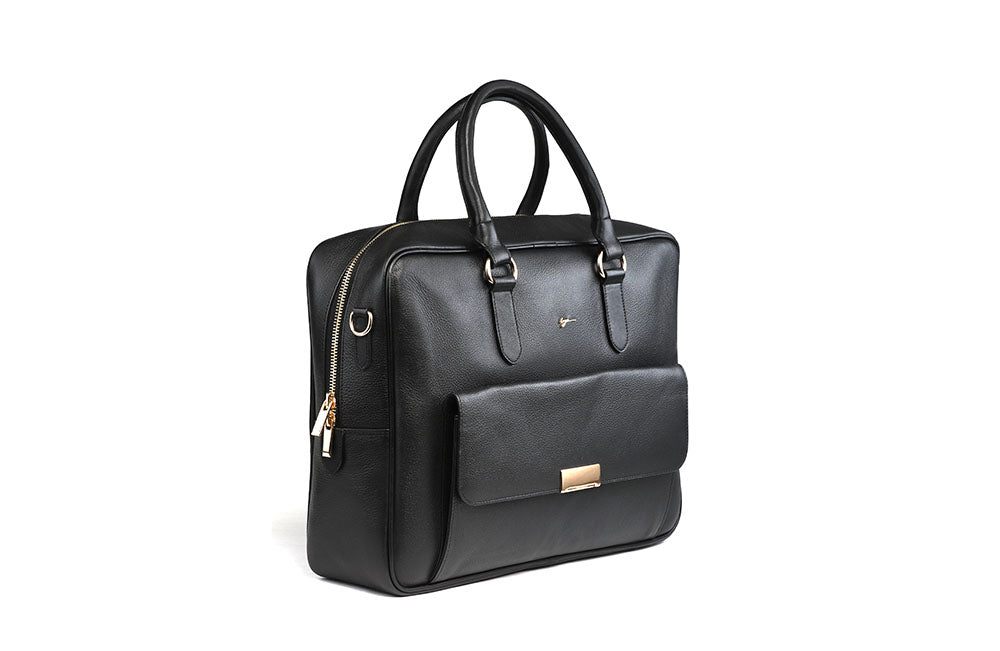 LOGO LEATHER OFFICE BAGS LOB020 BLACK - LOGO | OPIA