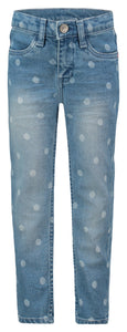 Regular Fit Denim - Light Blue Polka Dot