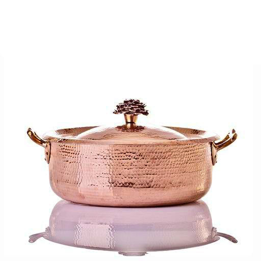 7.8 qt Copper Copper Rondeau with Flower Lid - AmorettiBrothers