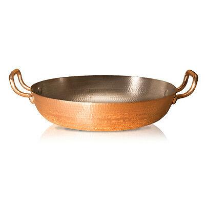 "Bring Spanish cuisine and Italian craftsmanship together with this paella pan.  Hand-hammered by our skilled copper artisans, this durable paella pan has a 13"" diameter of cooking space, letting you cook up large batches of paella with ease. Made with the Amoretti Brothers design philosophy, this is a paella pan that blends function and beauty together."