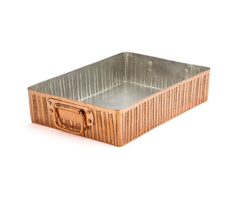 Engraved Lines Copper Roasting Pan