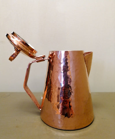 amoretti brothers copper water pitcher with lid open