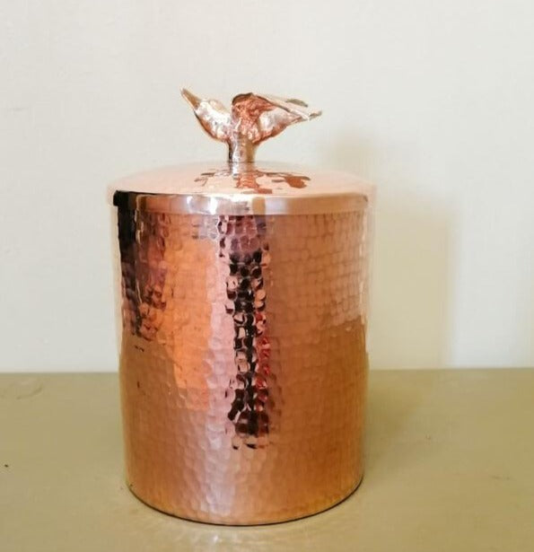 Copper Canister with Bird Knob - Large