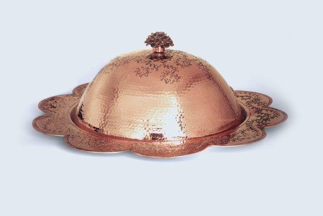 Copper Cloche Plate with Dome - Engraved Vines - AmorettiBrothers