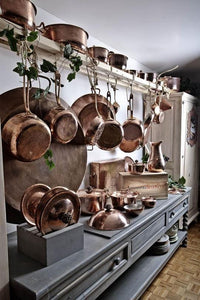 copper kitchen display, copper cookware - Amoretti Brothers