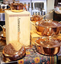 Copper Cookware Set of 7 Flower Lid - AmorettiBrothers