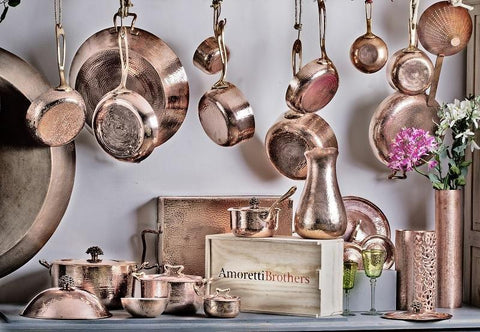 amoretti brothers collection of copper pots and pans