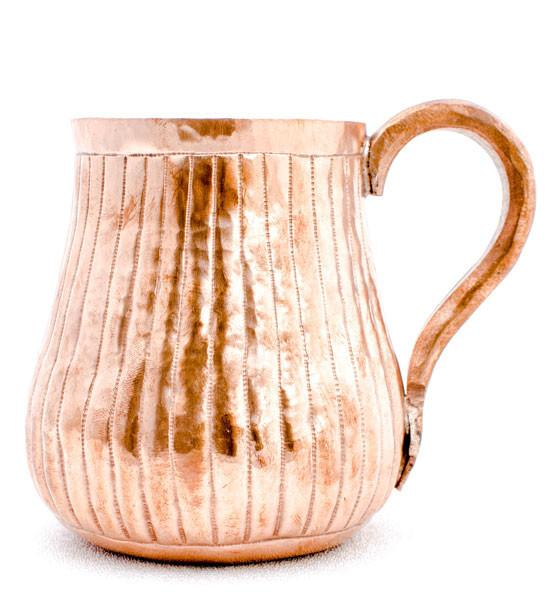 Hand-engraved Lines Copper Mug - set of 2 - AmorettiBrothers