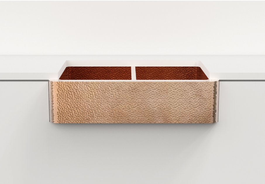 Hammered copper sink, farmhouse double bowl - Amoretti Brothers