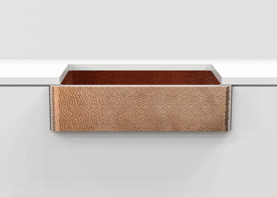 Hammered copper sink, farmhouse single bowl - Amoretti Brothers