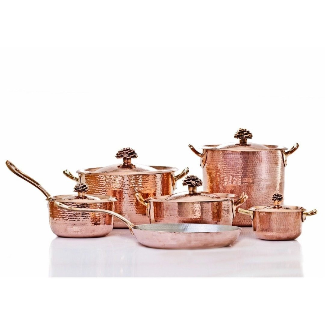 Copper Cookware Set of 11 with Flower Lid