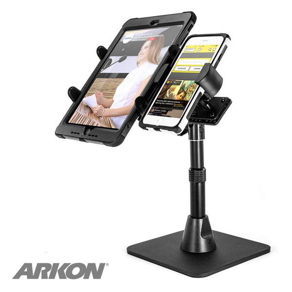 TW Broadcaster Dual Tablet and Phone Desk Stand for Side-by-Side Streaming on iPad and iPhone