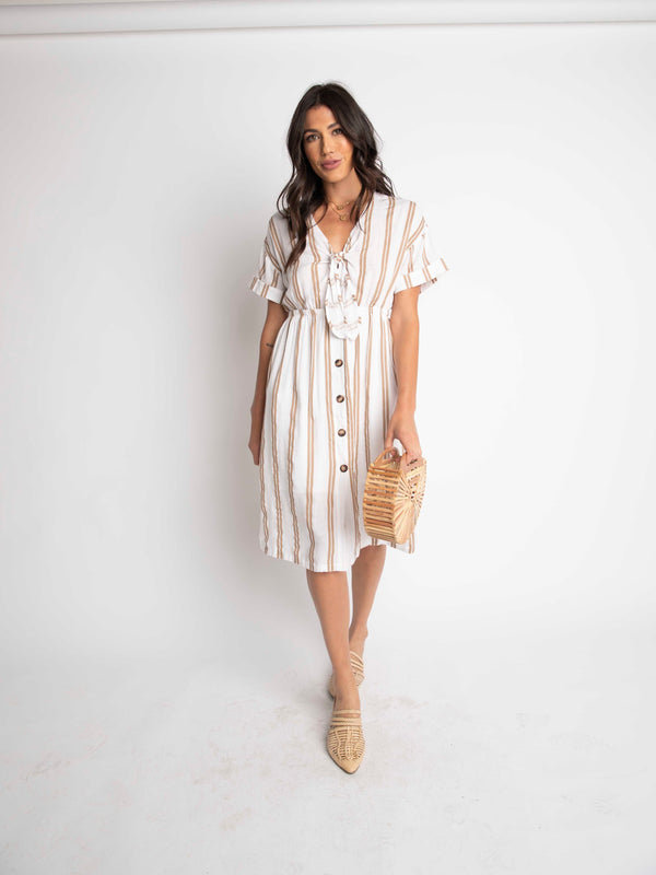 BUTTON DOWN TIE FRONT DRESS