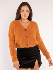 THE FUZZY BUTTON UP IN PUMPKIN