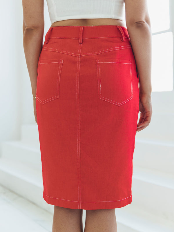 RED CONTRAST STITCH SKIRT