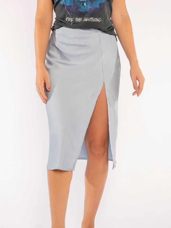 THE BABY BLUE SLIT SKIRT