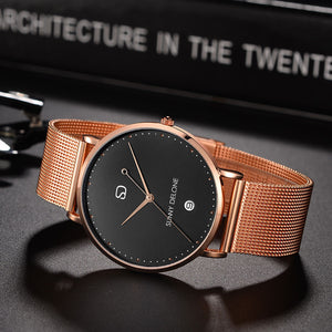 En Pointe - Rose Gold - Date - Quartz Movement - Minimalist Watch 40mm