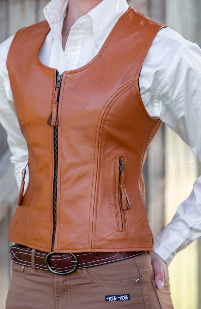 Lady Rancher Vest |  Lambskin | Toffee - TukTuk Clothing