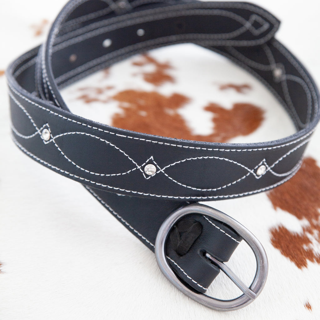 "Black Diamond | 1.5"" Cow Hide Belt - TukTuk Clothing"